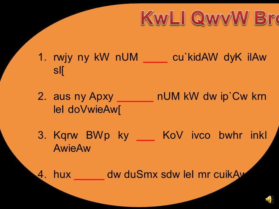 KwLI QwvW Bro ! rwjy ny kW nUM ____ cu`kidAW dyK ilAw sI[